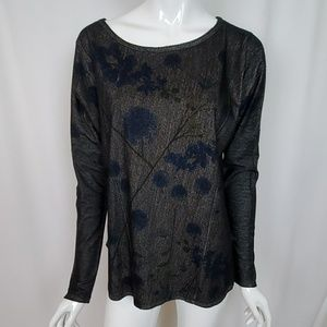 GO Couture Black Floral Print Knit Top Hi Low Hem